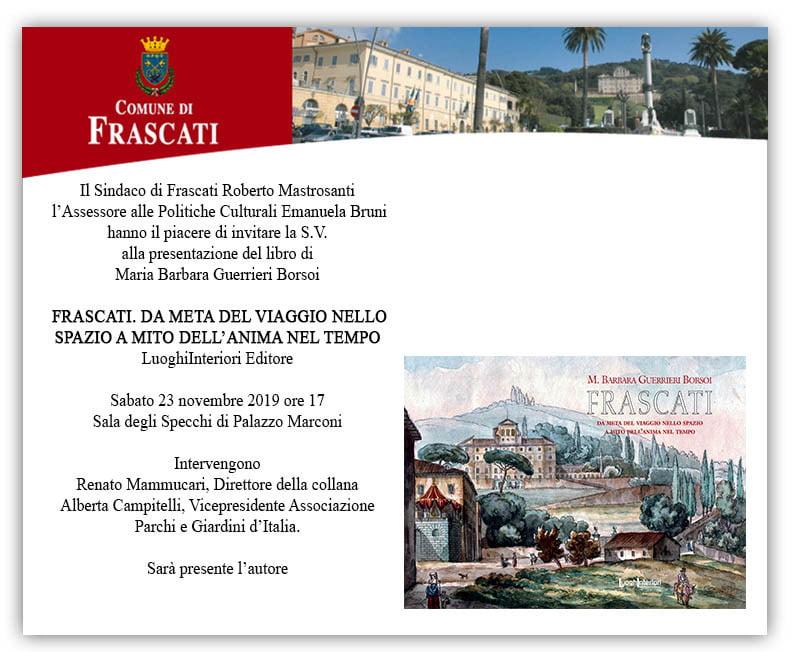 Presentazione Libro FRASCATI B. Guerrieri Borsoi, 23 nov. 2019